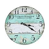 Wanduhr - Clement - Holz Küchenuhr mit großem Ziffernblatt aus MDF, Retro Uhr im angesagtem Shabby Chic Design mit leisem Quarz-Uhrwerk, Ø: 32 cm
