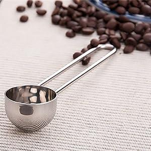 Cucchiaio dosatore per caffè misurino, in acciaio INOX, con manico lungo per cucinare misurazione Taglia libera Silver