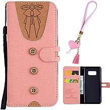 Samsung S8 Plus Handytasche Cute Taste Krawatte Design Grau PU Leder Kunstleder Flip Case mit ID Kreditkarten Magnetverschluss Stand Fuction Bookstyle Tasche f/ür Samsung Galaxy S8 Plus