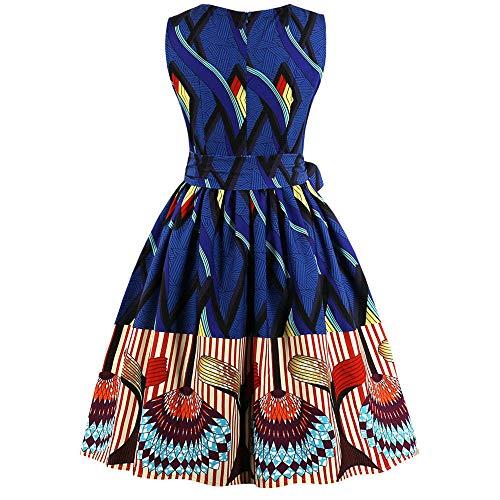 Mode Femmes Dames Dentelle en Mousseline de Soie Au-Dessus du Genou Mini Robe Robe de Fête Lâche Tefamore (XL, H-Bleu)