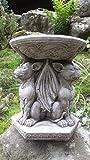 Garden Ornaments by Onefold BB7 Vogeltränke/Futterstation aus Stein, mit Wasserspeier-Motiv, grau, 23x 23x 26cm