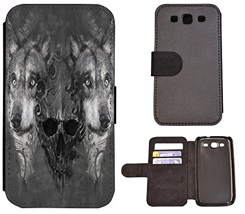 Coque Flip Cover Housse Etui Case Pour, Tissu, 1290 See Berge Panorama, Apple iPhone 4 / 4s 1295 Wolf Wölfe Totenkopf Schwarz Grau