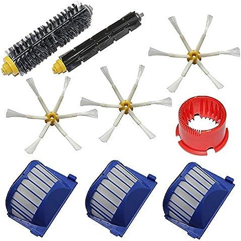 LOVE(TM)Aero Vac Filter & Setola Spazzola e flessibile Brush Beater & 6-Armed spazzola e pulizia laterale Tool Kit Pack per Robot serie 600 (620 630 650 660) pulizia con aspirapolvere robot