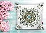 Beauty Home - Solak 2er Set Mandala Design Kissenbezug - Kissenhülle Digital Bedruckt - 43 x 43 cm