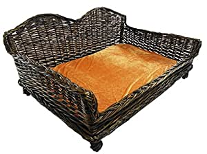 Giant Huge Big Wicker Willow Dog Pet Bed Basket Sofa Couch Bed Padded Cushion[Small 70x50x34cm.]