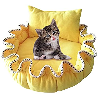 BeesClover Cute Cartoon Pumpkin Shape Warm Nest with Pillow for Dogs Teddy Cats -for pet dog cat by BEESCLOVER