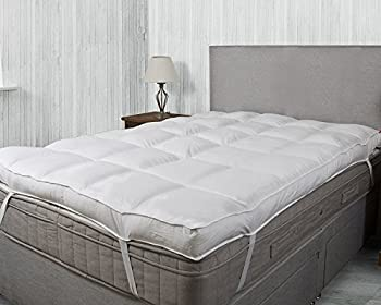 """Luxury 4"""" Thick Supersoft Heavy Fill Microfibre Mattress Topper All Sizes (King) 0"""