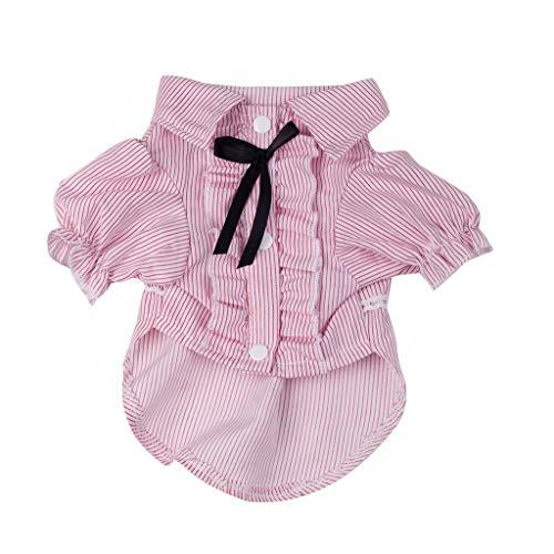 Hawkimin Haustier Shirt, Gestreift Fliege Revers Hemd Schön Mode Frühling und Sommer Patchwork Farbe Kleidung Blase Rock Kleid Haustierzubehör Welpen Hunde Kostüm