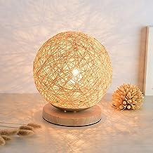 NAN Lámpara de mesa de tela de madera maciza de mimbre de tipo plano Modelos altos Color de ropa de cama de luz cálida Led de 3W sin fuente de luz Botón de encendido redondo Botón de la sala de estar ( Tamaño : 20*23cm )