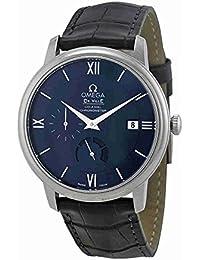 Omega de Ville Prestige Azul Dial Negro Cuero Mens Reloj 42413402103001