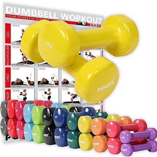 Vinyl Hantel Paar Ideal für Gymnastik Aerobic Pilates 0,5 kg – 10 kg | Kurzhantel Set in versch. Farben (2 x 2 kg)