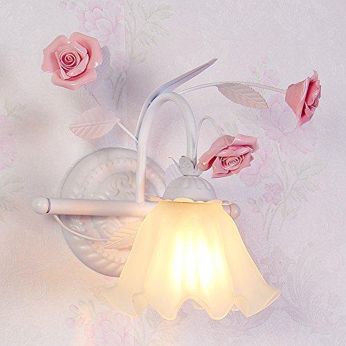 Lámparas de pared modernas / lámpara de pared LED Lámpara de pared Personalidad creativa idílica continental cama para niños chicas coreanas princesa dormitorio matrimonio habitación rosa apliques lámpara de mesilla ,23*28cm apliques de pared