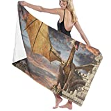 xcvgcxcvasda Badetuch, Sunset Dragon Castle Personalized Custom Women Men Quick Dry Lightweight Beach & Bath Blanket Great for Beach Trips, Pool, Swimming and Camping 31