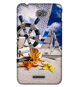 PrintHaat Polka Dot Pink Mickey Mouse Back Case Cover for Sony Xperia E4 Dual::Sony Xperia E4 (miniature of a yacht, building and star fishes taking rest :: funny :: in yellow, blue orange and black)