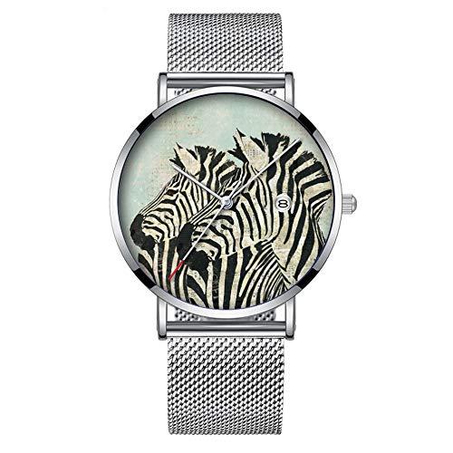 Minimalistische Mode Quarz-Armbanduhr Elite Ultra Thin Wasserdichte Sportuhr mit Datum mit Mesh-Band 414. Vintage Zebras Uhr -