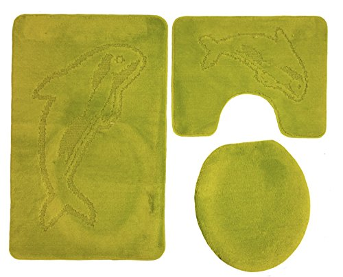 Delphin Badgarnitur 3 tlg. Set 55x85 cm kiwi grün WC Vorleger mit Ausschnitt für Stand-WC