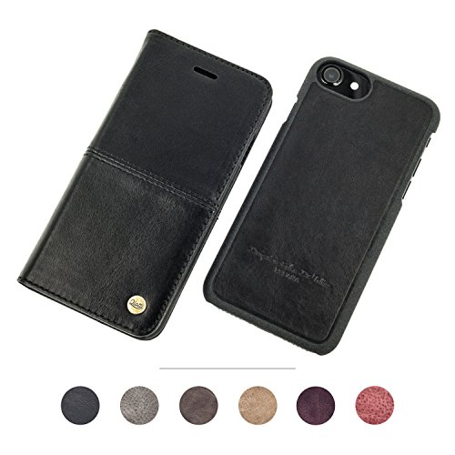 "QIOTTI > APPLE iPHONE 6 / 6S / 7 (4,7"") < incl. PANZERGLAS H9 HD+, RFID Schutz, 2-in-1 Booklet mit herausnehmbare Schutzhülle, magnetisch, 360 Grad Aufstellmöglichkeit, Wallet Case Hülle Tasche handgefertigt aus hochwertigem italienischem ECHT-LEDER SMART - SCHWARZ (Tasche Piel Schwarz)"