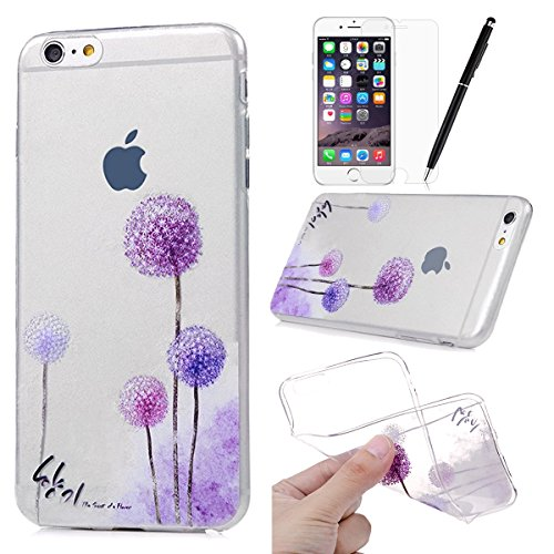 HB-Int 3 en 1 Transparente Housse TPU Etui pour Apple iPhone 6 / iPhone 6S (4.7 pouces) Papillon Fille Originale Motif Coque Gel Silicone Souple Couverture Légère Slim Flexible Coque Protecteur Foncti Pissenlit Pourpre