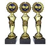 RaRu 3 Tischtennis-Pokale mit Blauen Emblemen und mit Ihrer Wunschgravur (Hoch3)