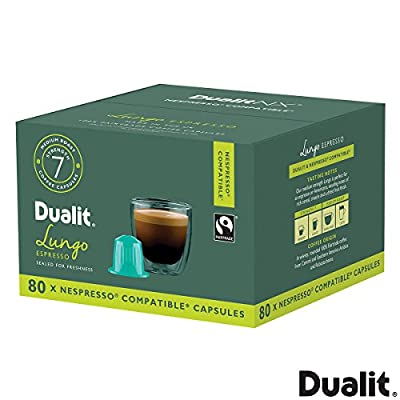 Dualit NX Nespresso™ Compatible Pod Capsules - 100% Fairtrade Coffe Capsules - Made in UK (Lungo Espresso, 80 x Pod Capsules)