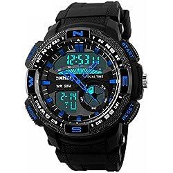 Qingmei Skmei Herren sk1109 a Multifunktional outdoor Sport verziert Kompass Wasserdicht Dual Time Digital Armbanduhr Blau