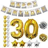 BELLE VOUS Alles Gute zum Geburtstag Folienballons Gold & Silber Party Dekoration Zubehör Set (Age 30)
