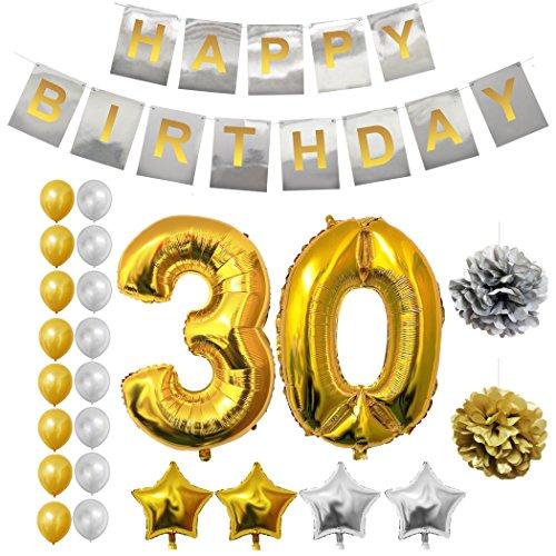 Decoracion 30 Cumpleaños - 24 piezas Fuentes de Fiesta para 30 años - Número 30 Globo, Globos de Estrellas, Globos de Látex, 'Happy Birthday' Pancarta, Pompones - Fiesta de Cumpleaños Decoraciones