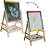 2 in 1: Schreibtafel und Maltafel - Standtafel - aus HOLZ - mit Blackboard & Whiteboard - beidseitig beschreibbar - Magnettafel - Kindertafel / Kreidetafel - Tafel - zum Aufstellen - magnetisch - Holztafel / Kindermaltafel - Standkindertafel von alles-mei