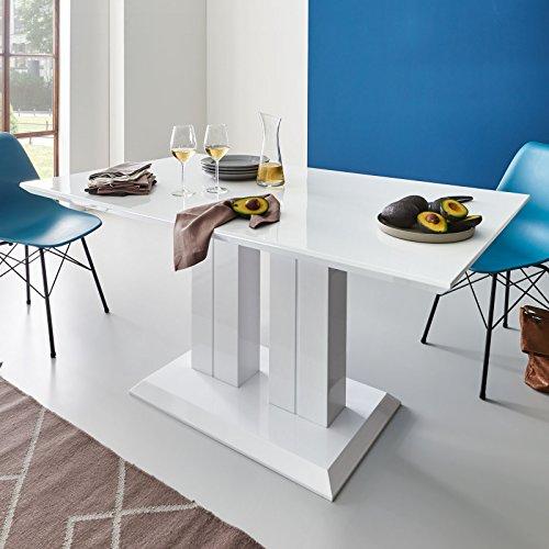 Moebella Hochglanz Esstisch Tisch MARBELLA 160x90cm Lack Weiss Säulentisch