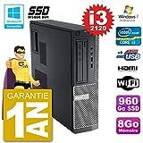 Dell PC 390 DT Intel i3-2120 RAM 8gb SSD 960Go DVD-Brenner WiFi W7