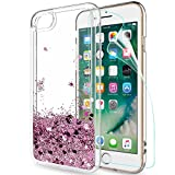 LeYi Custodia iPhone 7 / iPhone 8 Glitter Cover con HD Pellicola,Brillantini Silicone Gel Liquido Sabbie Mobili Bumper TPU Case per Custodie Apple iPhone 7 Plus Donna ZX Rosa Rose Gold