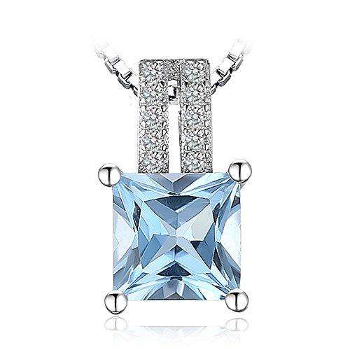 Jewelrypalace 1.2ct Princess Cut echte Sky Blue Topas Anhänger Halskette 925 Sterling Silber 18 Zoll Box Kette (Topas-anhänger-halskette Blue)