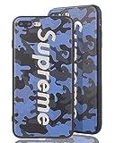 Sup [ Apple iPhone 7 Plus / 8 Plus, Blau ] Supreme Camouflage Design Case Bumper im Army Tarnmuster - Oberfläche erhoben fühlbar 3D - Schutzhülle mit Hype Logo