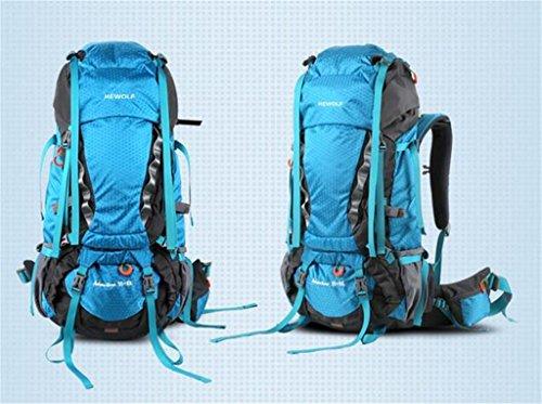 Rucksack Bergsteigen Taschen wasserdichten Outdoor-Männer und Frauen reisen Falten Rucksack Unterricht Wandern 65L Blau