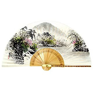Hand Painted Folding Lake in Spring Scene Painting Korean Mulberry Rice White Paper Bamboo Art Handheld Decorative Fan