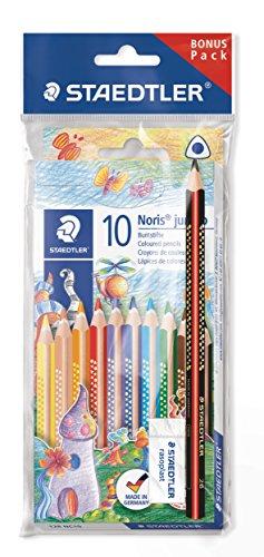 STAEDTLER Jumbo Buntstifte Noris Club, erhöhte Bruchfestigkeit, Dreikantform, ABS-System, kindgerecht nach DIN EN71, Set mit 10 brillanten Farben, Radierer und Bleistift, 61 SET7