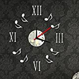 Silver : Alrens(TM)Silver Roman Numbers and Music Notes Pattern Mirror Surface Wall Clock
