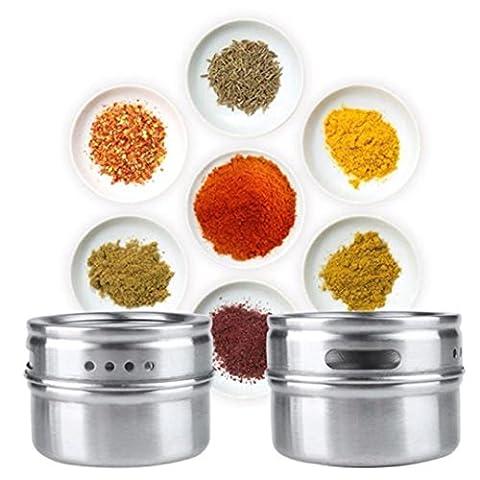 upxiang Bouteille à épices, verre, Boîte de Rangement Magnétique en Acier Inoxydable Spice Récipient avec rackha lter, peut être utilisé comme Sel et Moulin à épices, 1pc, 3pcs Kit, 4pc set, 6pcs, 1