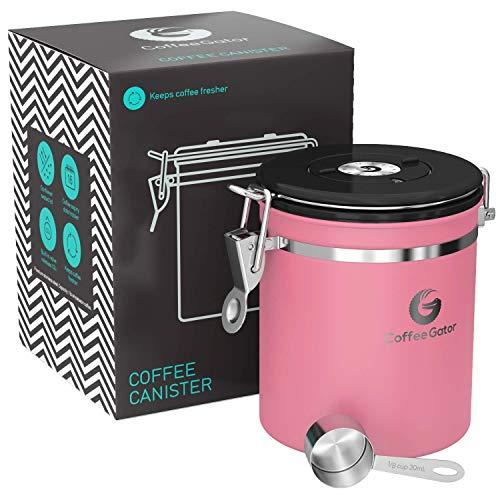 Coffee Gator-Edelstahl-Kaffeedose - Hält gemahlener Kaffee und Bohnen länger frisch - Behälter mit Datumsverfolgung, CO2-Freigabeventil und Messlöffel - Mittel - Rosa