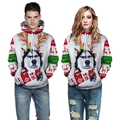 Fenverk Unsiex HäSslich Weihnachten Fahren Sweatshirts 3D-Druck Lange äRmel T-Shirt Herren Zone GefüTtert Mit Kapuze Jacke Luxus Weich Jumper Verziert Gestrickt Jumpe(Weiß 2,S)