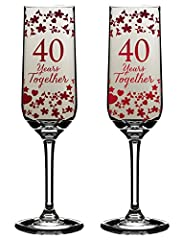 Idea Regalo - 40 anni insieme Flute per il 40° anniversario di matrimonio, confezione regalo