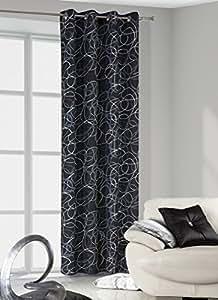 140x245 weiß - schwarz stahl Vorhang Vorhänge Fensterdekoration Gardine Blickdicht white - black steel Dona
