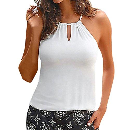 TEBAISE 2018 Fashion Design Damen Sommer Strappy Beach Sunwear Datierung Weste Top Ärmelloses Shirt Bluse Casual Tank Tops(Weiß,EU-44/CN-XL)