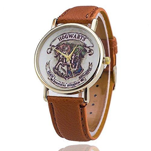 Preisvergleich Produktbild Harry Potter Hogwarts Wappen Armbanduhr mit Luxus Pu-Leder Armband, braun