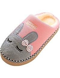 Mujer Hombres Invierno Zapatillas de Estar por Casa Suave Slippers Dibujos Animados Pareja Zapatos Pantuflas