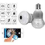Fisheye 360 Degree HD Wireless WIFI IP Hidden Panoramic Camera Spy Cam 960P HD Bulb Lamp Indoor Home Security Surveillance for iPhone Android PC