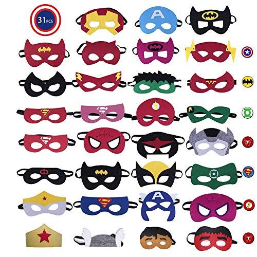 CompraFun Máscaras de Superhéroe, Máscaras Mitad de Fieltro con Cuerda Elástica, Disfraz...