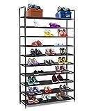 Unbekannt Halfter 10Ebenen Schuhregal Edelstahl/Schuh Aufbewahrung Stapelbar Regalen–Platz für 50Paar Schuhe–99,4x 28,3x 176,5cm–Schwarz