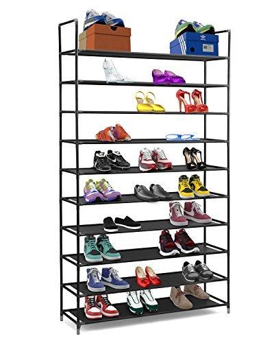 Halter - Zapatero de estantes apilables de 10niveles de acero inoxidable - Capacidad para de 50 pares...