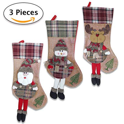 3 calze befana vuota grande/calze di natale da riempire con decorazione 3d fatta a mano. design tradizionale con babbo natale, renna e pupazzo di neve. decorazioni e accessori di natale da appendere.